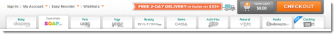 Quidsy sites like Wag.com, Soap.com and more, offer a prominent free shipping offer above the navigation.